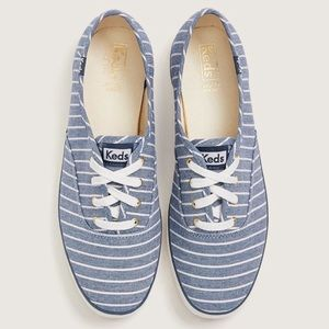 Keds Champion Blue Striped Classic Preppy Sneakers